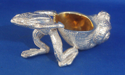 A lovely vintage silver plated frog pulling snail shell salt cellar or pin dish