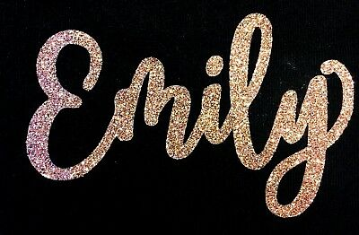 Personalised Name in Glitter - Hot Fix (iron on transfer for t-shirts, hoodies)