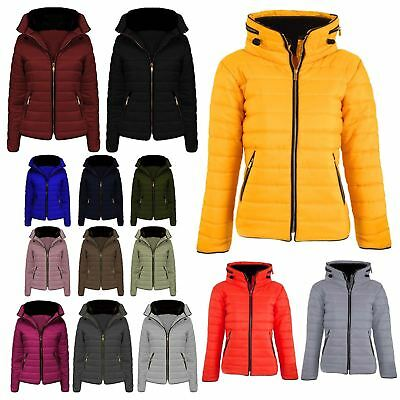 New Womens Padded Bubble Fur Collar Quilted Coat Ladies Zip Thick Hood Jacket