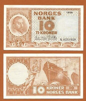 NORWAY NORWEGEN 10 Kroner 1959 aUNC