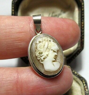 Beautiful Antique Art Deco 800 Silver Carved Shell Cameo Pendant Pendant