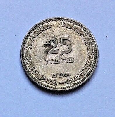 Israel Coin - 25 Pruta 1949 Reeded Edge - Au Condition - Uncleaned