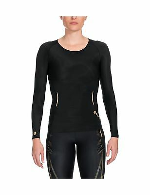 SKINS Women's A400 Long Sleeve Compression Top Black/Gold X-Large