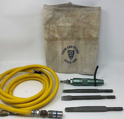 "Trow and Holden 3/4"" Pneumatic Stone Carving Tool with 3 Bits + Air Hose"