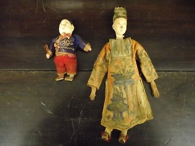 RARE Antique original  Chinese Opera Doll Silk Outfit Signature of Maker on Neck