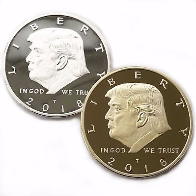 2 Sets 2018 Donald Trump Silver Gold Plated Commemorative coin Collectibles