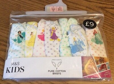 New Marks Spencer M&S Kids Disney Princess 7 Pairs of Briefs Knickers Age 1.5-2Y
