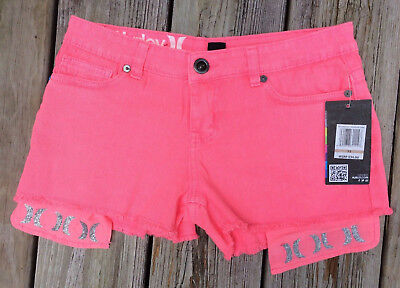 New With Tags Hurley Pink Zinger Denim Short Shorts Girls Size 12