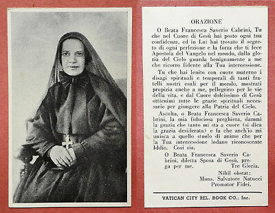 Santino Holy Card: B. Beata Francesca Saverio Cabrini