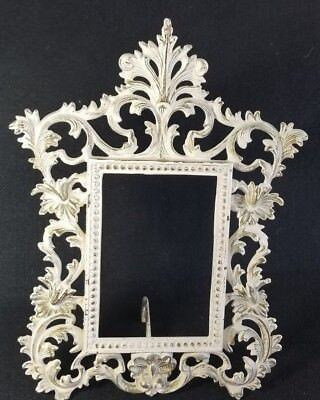 Vintage ORNATE Picture Frame Heavy Metal Shabby Chic Metal  Easel