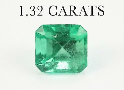 1.32 ct Saturated Loose Green Colombian Emerald Emerald Cut 6.7mm x 6.3mm