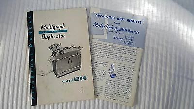 Vintage 1957 Reference Manuals For MULTIGRAPH OFFSET DUPLICATOR Class 1250