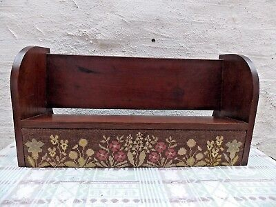 Early 1900s Wooden Book Trough Shelf Table Top Stand Rack Tapestry Panel
