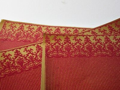 Miniature Dollhouse Wallpaper Flocked. J Hermes Vienna red/gold 1:12 scale 11x17