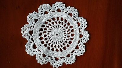 Crochet Cotton Doily / Coaster 11cm White Circle and Lace