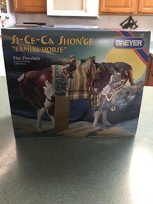Vintage Breyer Horse Si-Ce-Ca Shon'ge Indian Pony w Baby - Porcelain in Box L.E.