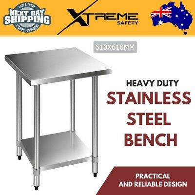 New Heavy Duty 430 Stainless Steel Robust Kitchen Adjustable Work Bench Table