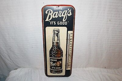 "Vintage 1950 Barq's Root Beer Soda Pop Bottle 26"" Metal Thermometer Sign~Works"
