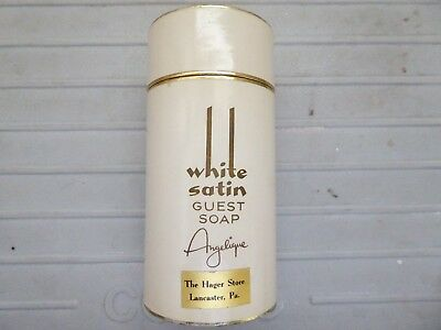Vtg White Satin Angelique Guest Soaps In Tube  Hager Store Lancaster Pa