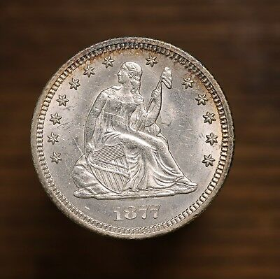 Raw 1877-CC Seated Liberty 25C Uncertified Ungraded Carson City Mint Silver Coin