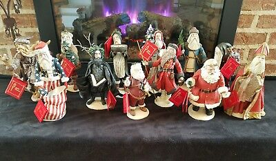 COMPLETE SET of 12 Duncan Royale Santas-Set 1, 1983 w Hang tags and most Boxes
