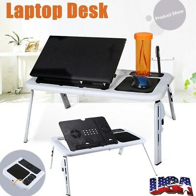 Portable Laptop Desk Foldable Table Bed with USB Cooling Fans Stand TV Tray