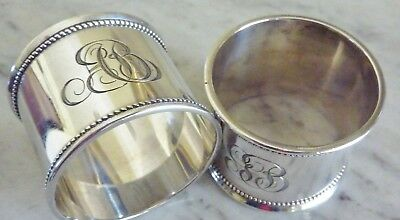 Pair Sterling Silver Antique Napkin Rings His Hers Engraved Sheffield Style