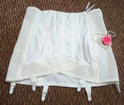 Vtg Twilfit Double Hookside & Zip Girdle Corset Burlesque High Waist 6 Garters