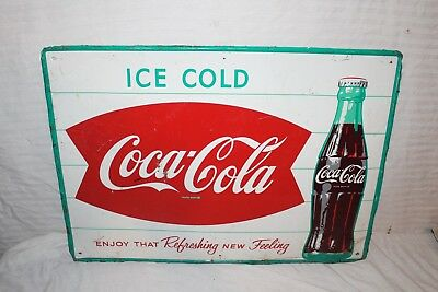 "Vintage c.1960 Coca Cola Fishtail Soda Pop Gas Station 28"" Metal Sign"