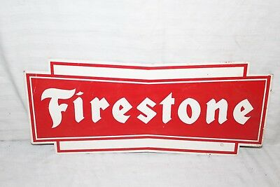 Vintage 1960's Firestone Tires Tire Gas Station Oil Metal Sign