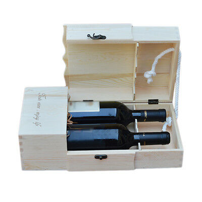 Unfinished pine wood double wine box storage trinket jewellery bottle