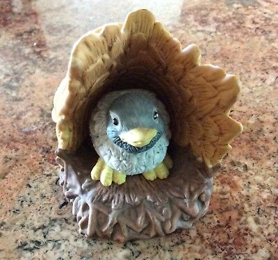 1984 Woodland Surprises Jacqueline Smith Franklin Mint Bluebird in Tree Figurine