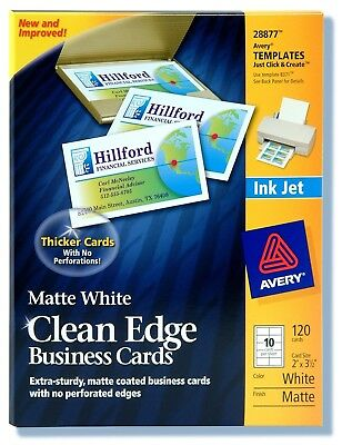 Avery 28877 White Ink Jet Printer Business Cards 120 Count