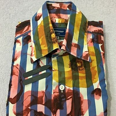 "Mens Floral Shirt DUCHAMP LUXE 16.5"" 42cm Slim BLUE WHITE RED YELLOW Button Cuff"