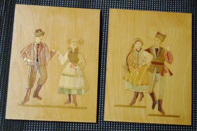Vintage Polish Folk Art Straw Pictures On Wooden Plaque Lot Of 2