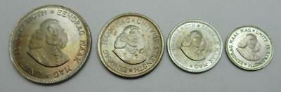 1964 South Africa 4 Coin Lot - 20 10 5 2 1/2 Cents - .500 Fine Silver - BU