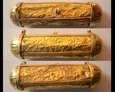 PCW-AN316-Moghul Empire. Ca.16th Century. Gold Cylindrical box. Extremely rare.