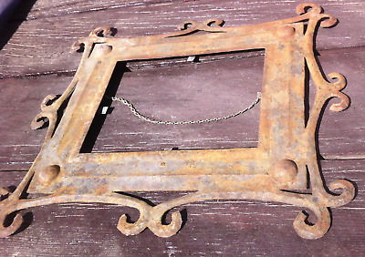 Primitive Art Metal Picture Frame, Hand Cut and Riveted, Unusual Vintage/Antique