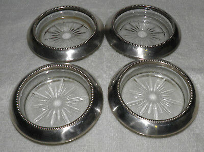Antique FRANK M WHITING STERLING SILVER & Glass Starburst Set of 4 Coasters 04