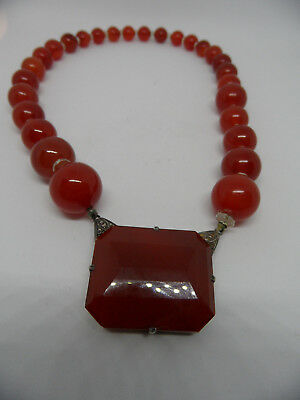 *Gorgeous* OLD Antique STERLING SILVER Carnelian & Marcasite Necklace