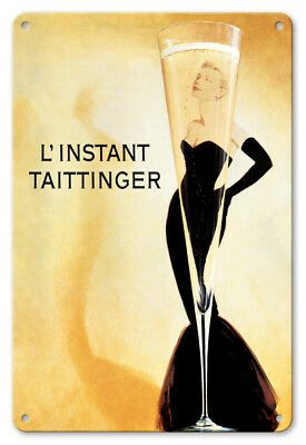 Taittinger Moment Champagne 1988 - 8in x 12in Vintage Metal Sign