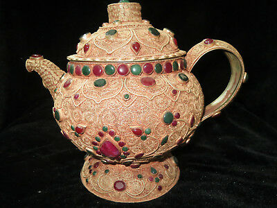 Excellent Unique Beautiful Chinese Ancient Silver Gilt Jasper Jade Teapot