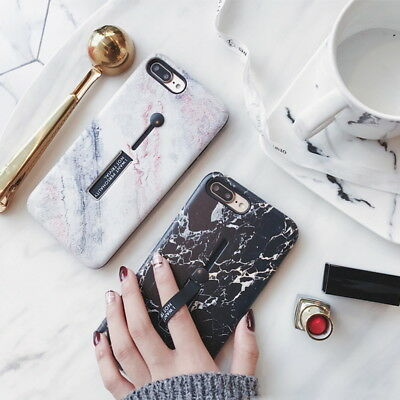 Shockproof Retro Marble Pattern Holder Hard Case Cover For iPhone X 8 6S 7 Plus