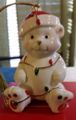 Lenox Christmas Ornament Teddy Bear Very Merry Porcelain Holiday Boxed Lights