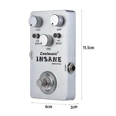 Electric Guitar Distortion Effect Pedal True Bypass Metal Silver Free Ship E2C7