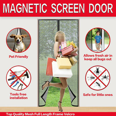 """Magnetic Screen Door with Full Frame Magic Stickers Fits Doors Up To 34""""x82"""" MAX"""