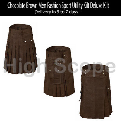 Chocolate Brown Men Fashion Sport Utility Kilt Deluxe Kilt Delivery in 4-6 days