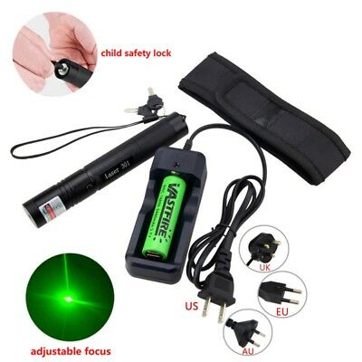 Green Laser Pen Pointer 1mw 532nm Adjustable Focus with Battery Charger Powerful