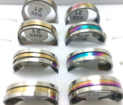 Job lots 50pcs Gold Rainbow 3 in 1 Men's Women's Fashion Stainless Steel Rings