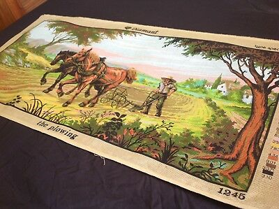 "VINTAGE Unworked DIAMANT TAPESTRY CANVAS Made In Greece ""THE PLOWING"" Horses"